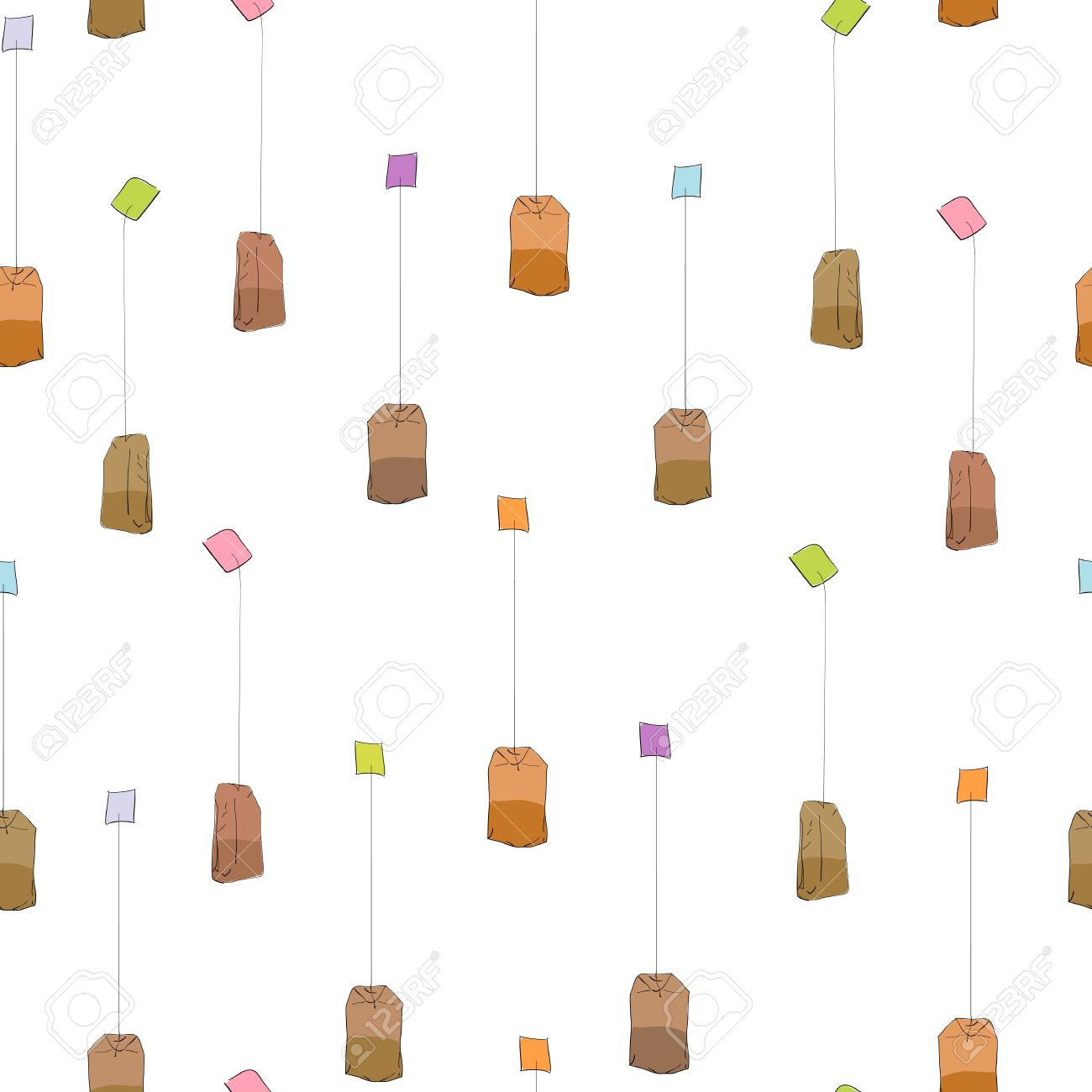 Simple Tea Bags Pattern Over Transparent Background Royalty Free.
