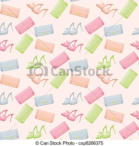 Clipart Vector of Seamless bags and shoes pattern csp8266375.