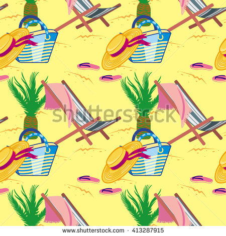 Seamless Pattern With Deckchair, Sun Hat, Beach Bags, Flip Flops.