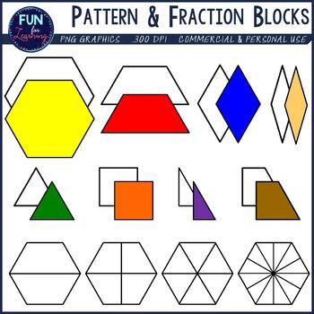 Standard & Fraction Pattern Blocks Clipart.