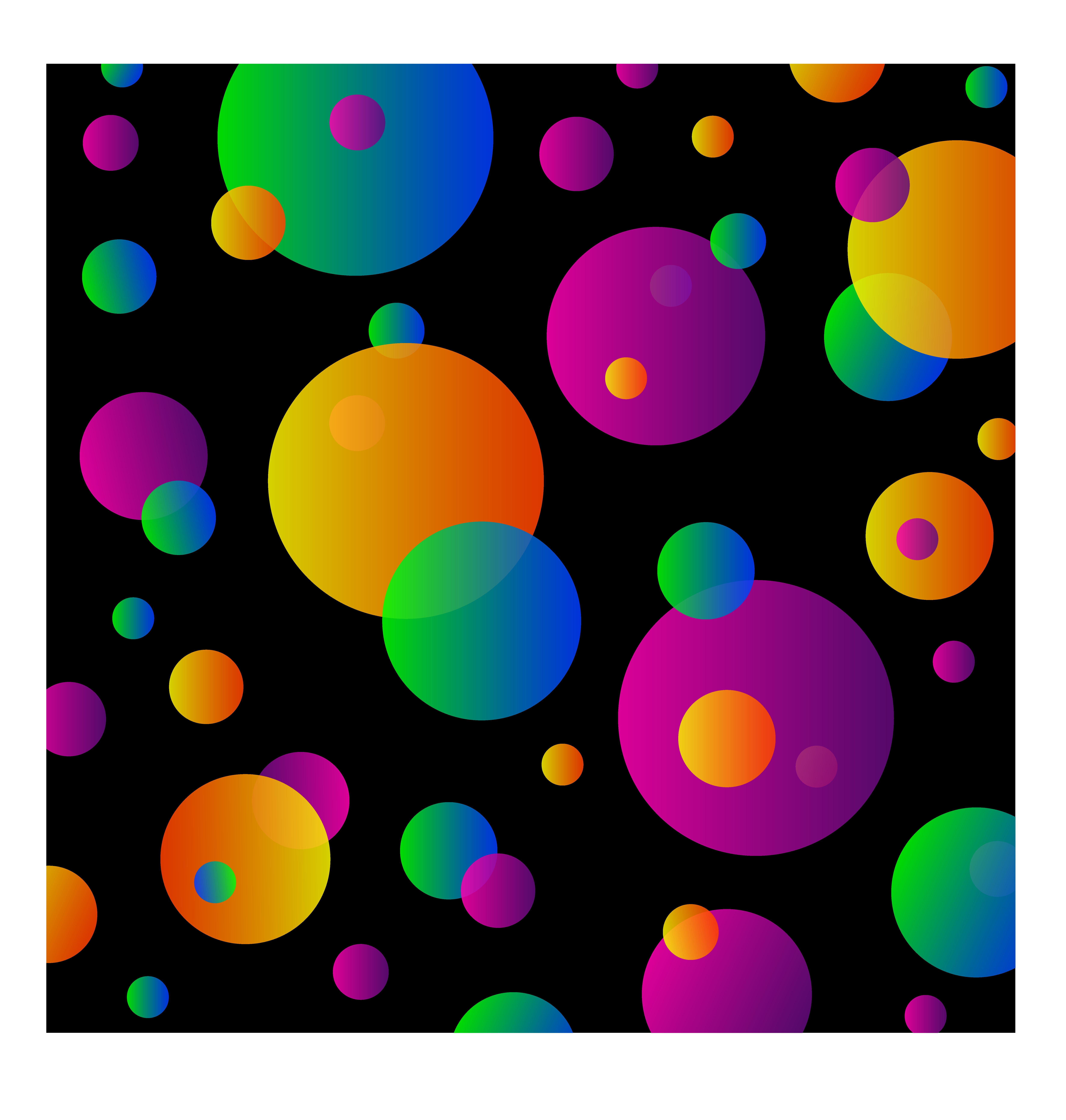 Colorful Circles Pattern on Black.