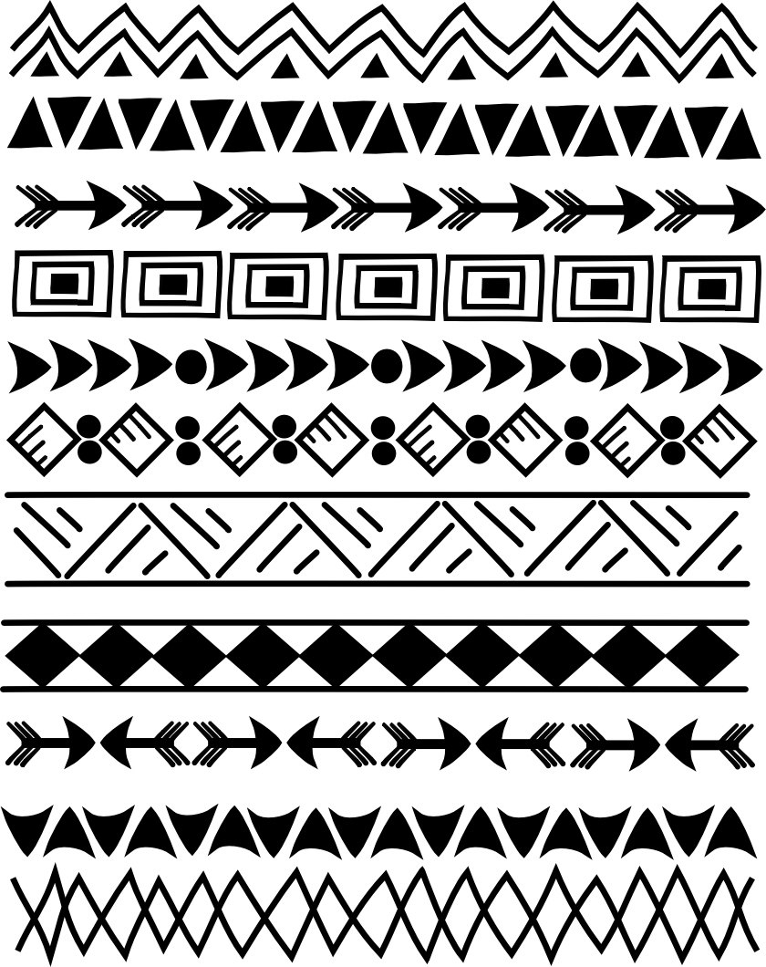 Photoshop Brushes and clip art borders, Indian, tribal 8.5