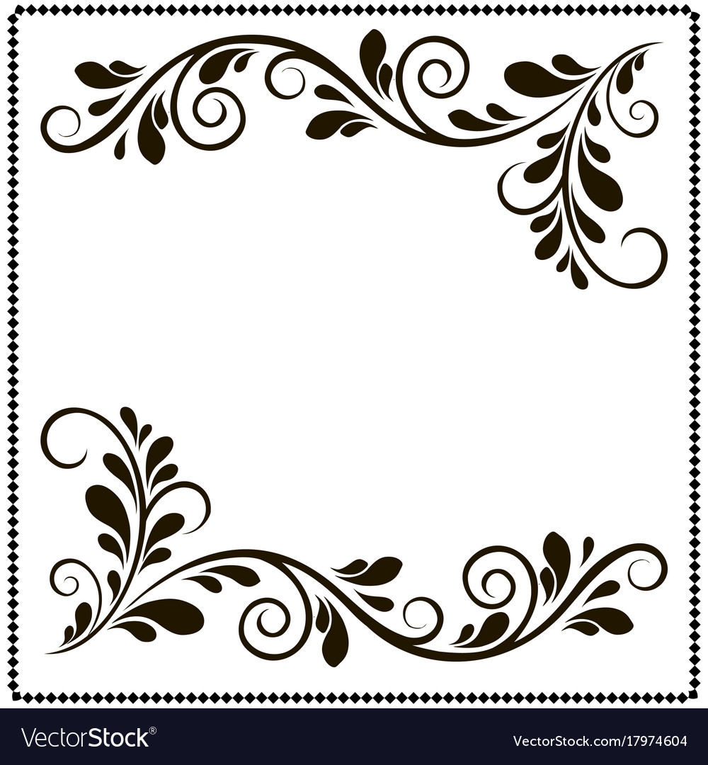 Black and white border frame with floral patterns.