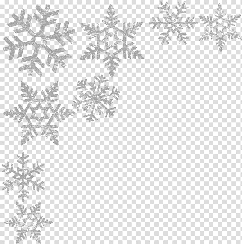 Grey snowflakes illustration, Black and white Point Pattern.