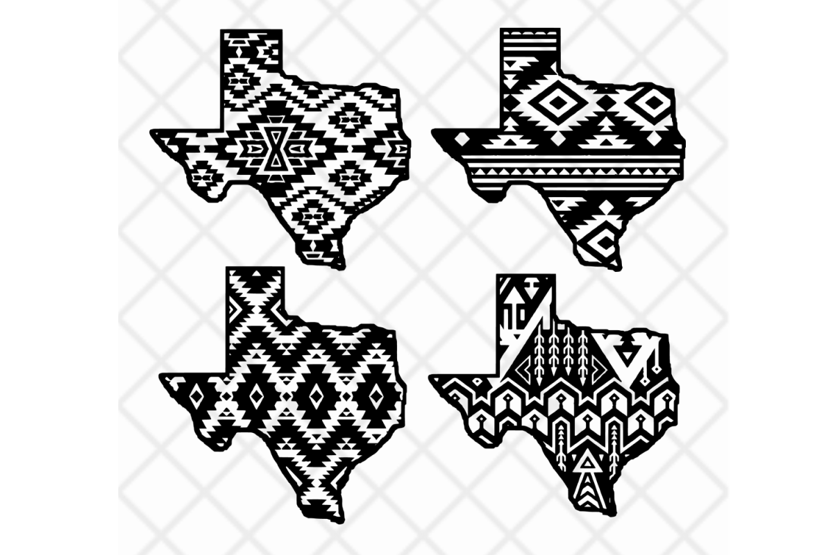 Texas state svg clipart vector Aztec pattern,State design.