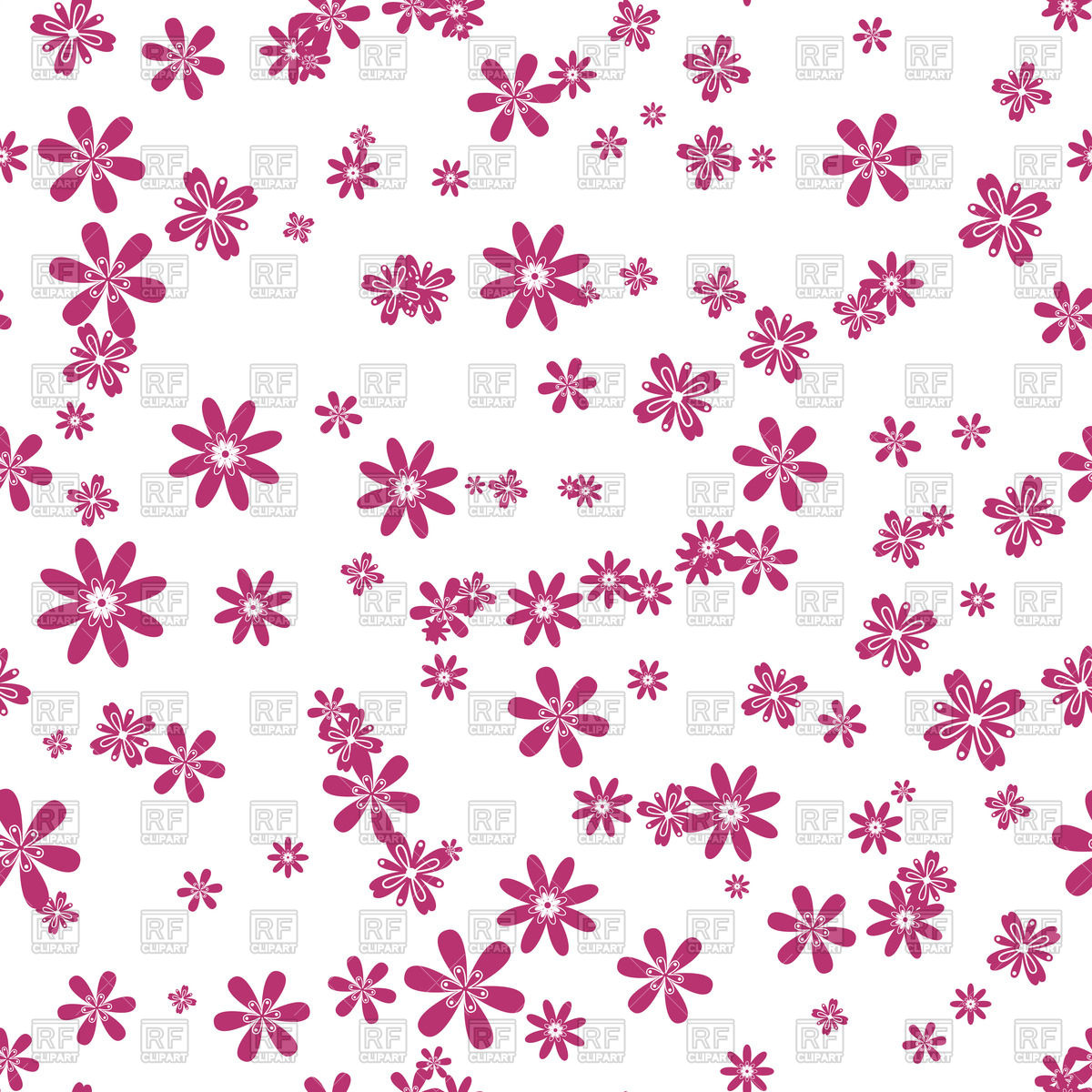 Pink flower pattern clipart.