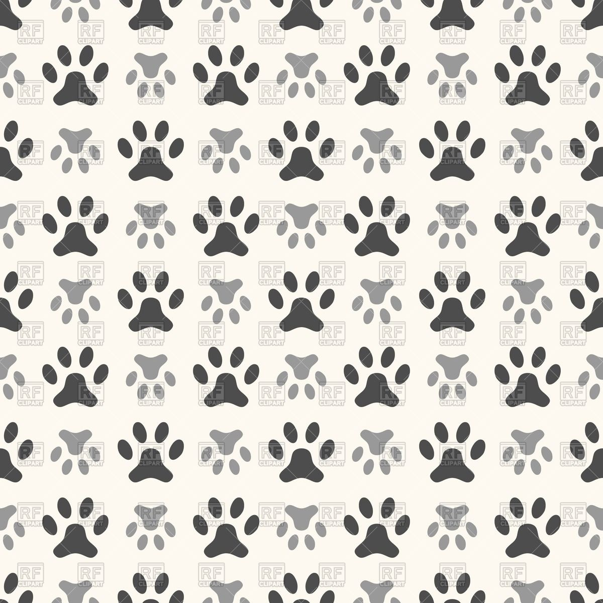 Dog paw print multiple clipart.