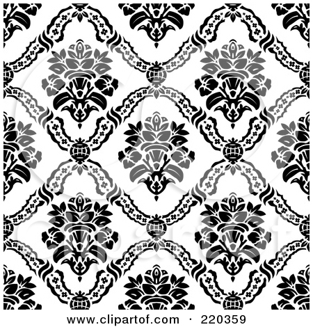Floral print black white clipart pattern.