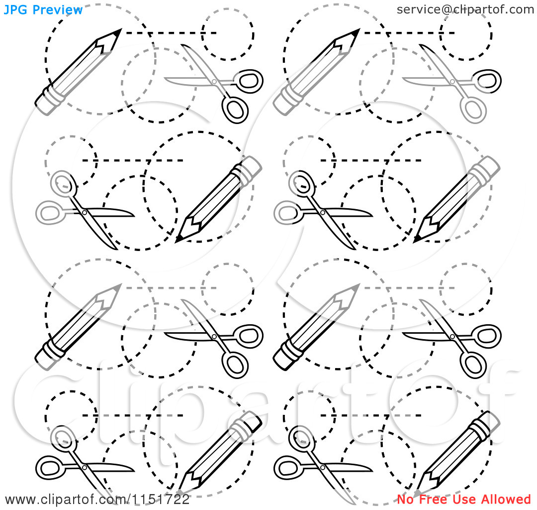 Cartoon Clipart Of A Black And White Scissors and Pencils Pattern.