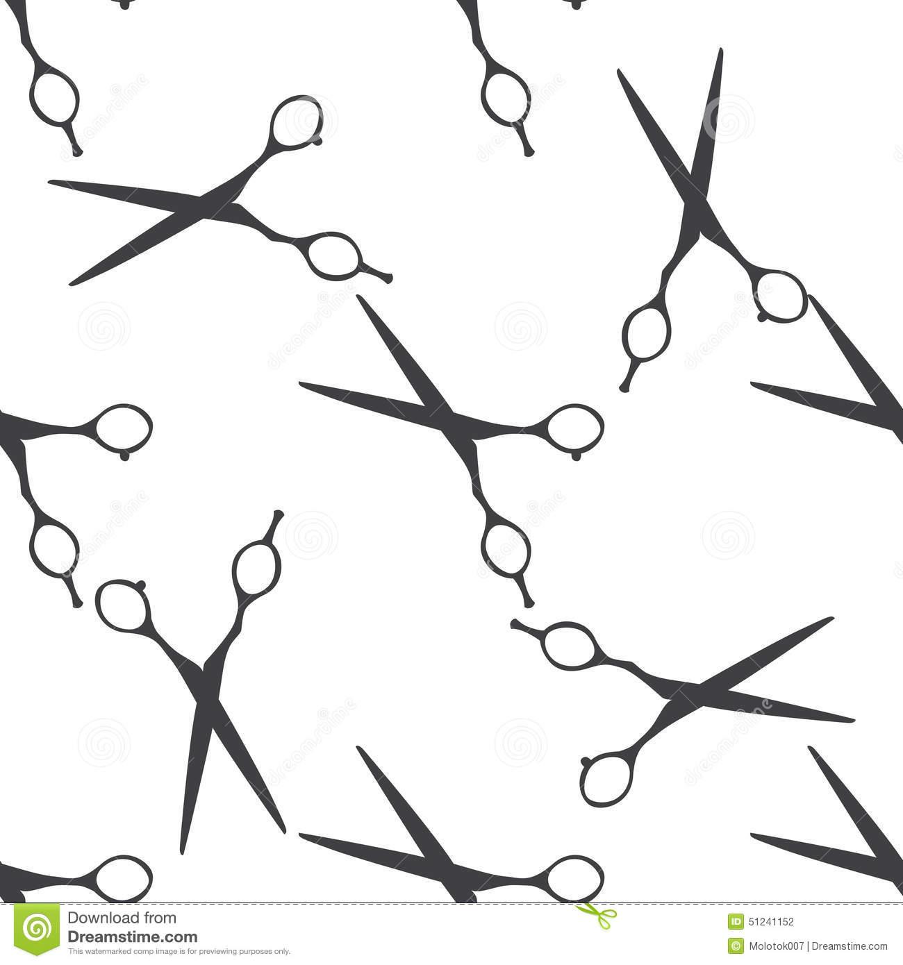 Beauty Salon Scissors Seamless Pattern Stock Illustrations.