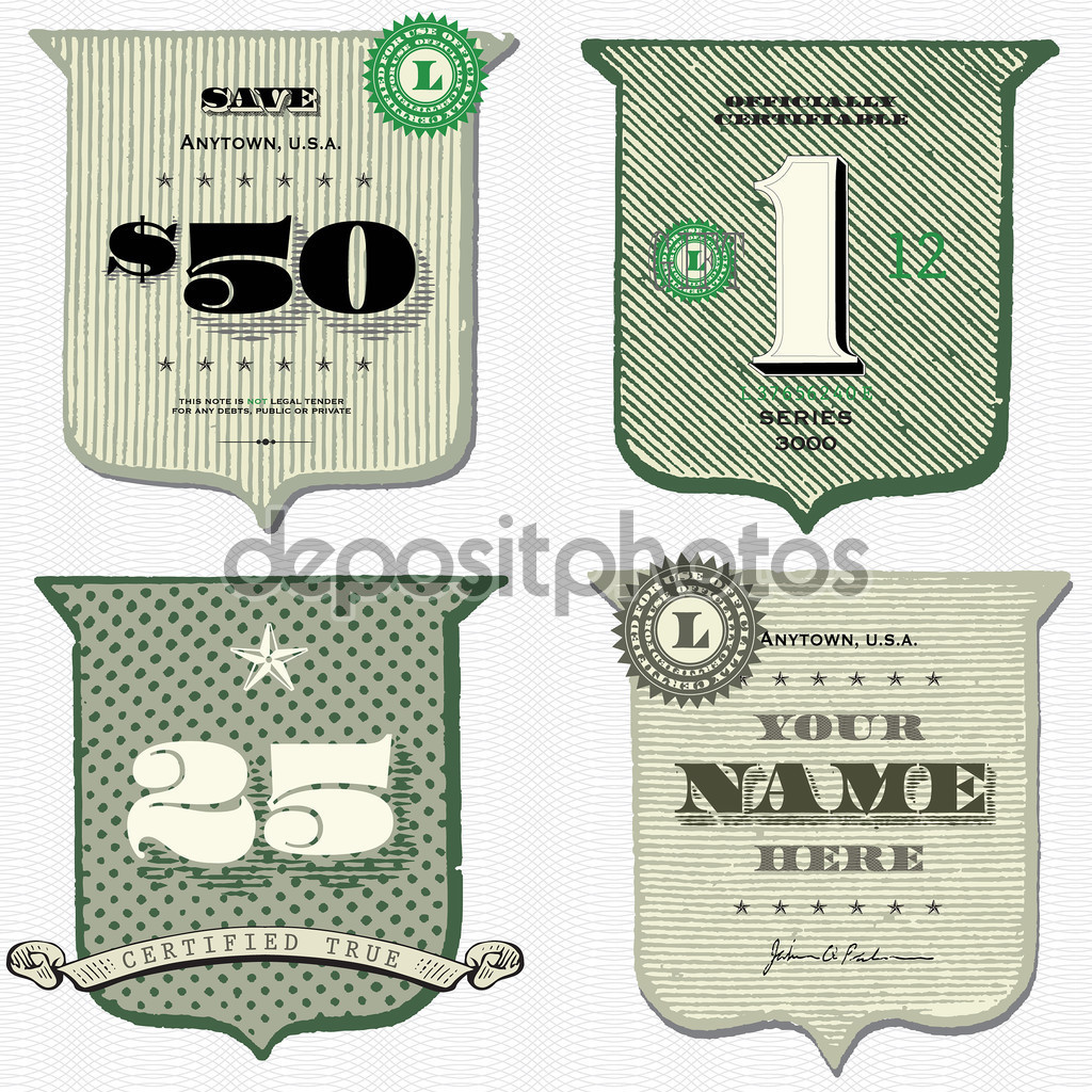 Vector Vintage Money Shield Set — Stock Vector © createfirst #66120423.