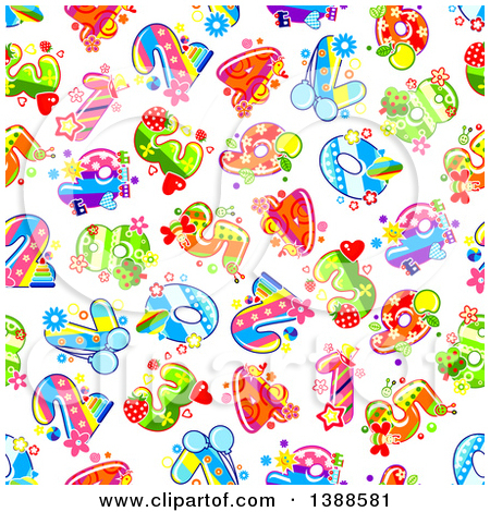Clipart of Colorful Funky Patterned Numbers and Math Symbols.