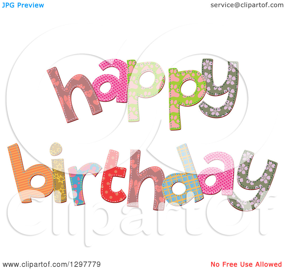 Clipart of Patterned Stitched Happy Birthday Text.
