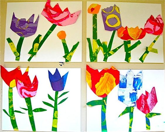 kindergarteners cut and glued their own garden collage patterned.