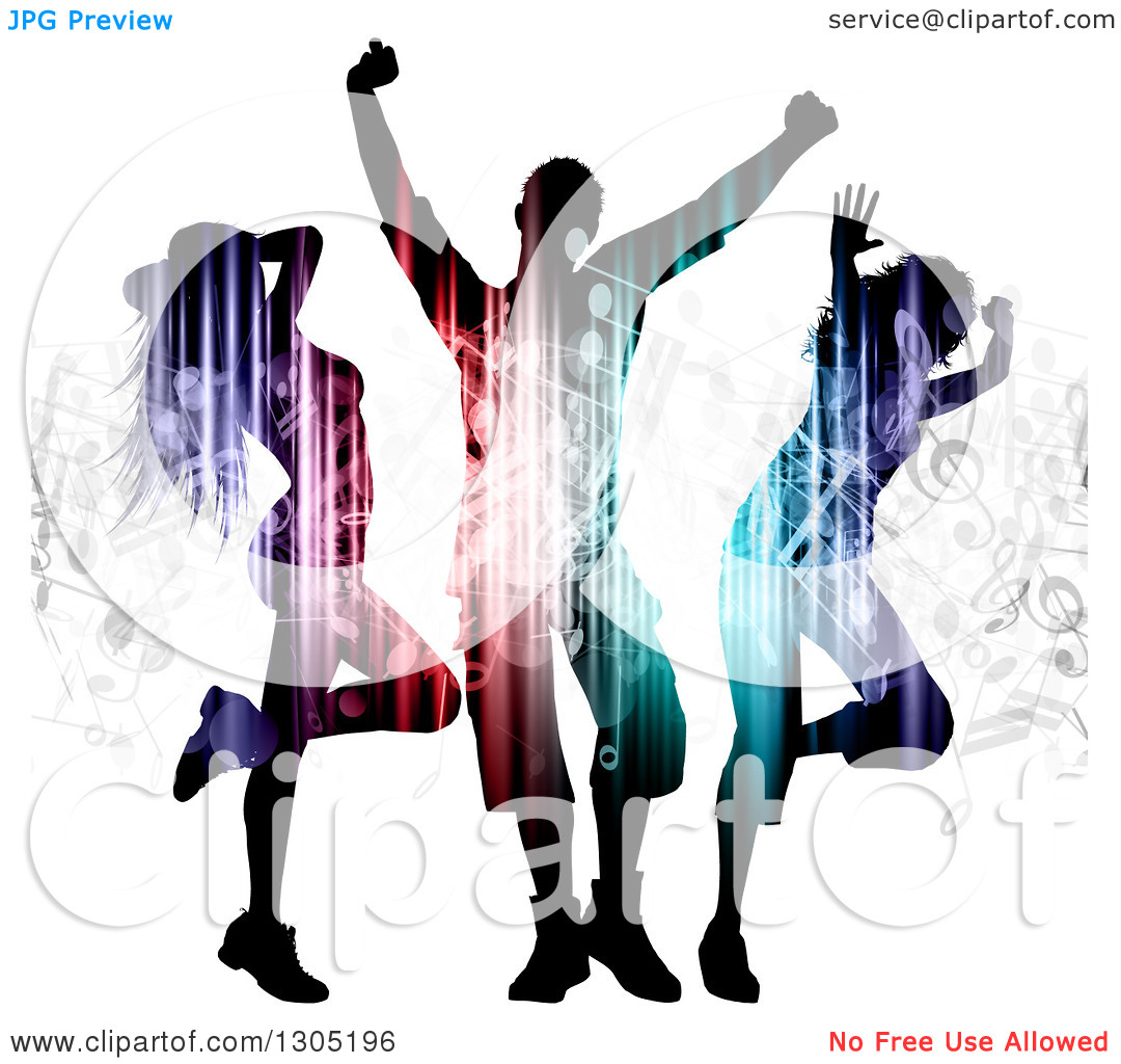 Clipart of Silhouetted Light and Music Patterned Dancers on White.