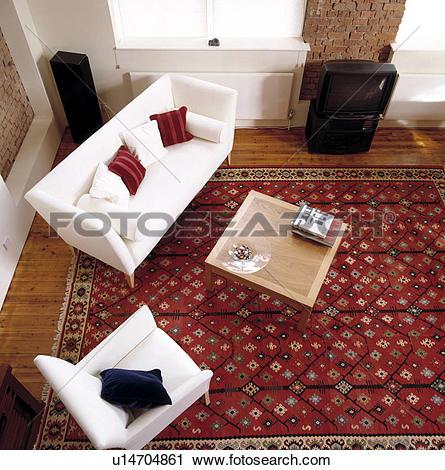 Stock Photography of Aerial view of white sofa in modern living.