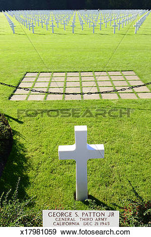 Stock Photograph of George Patton Grave, Luxembourg American.