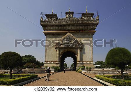 Clip Art of Patuxai monument in Vientiane capital of Laos.
