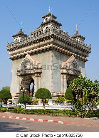 Clip Art of Patuxai monument in Vientiane, Laos.