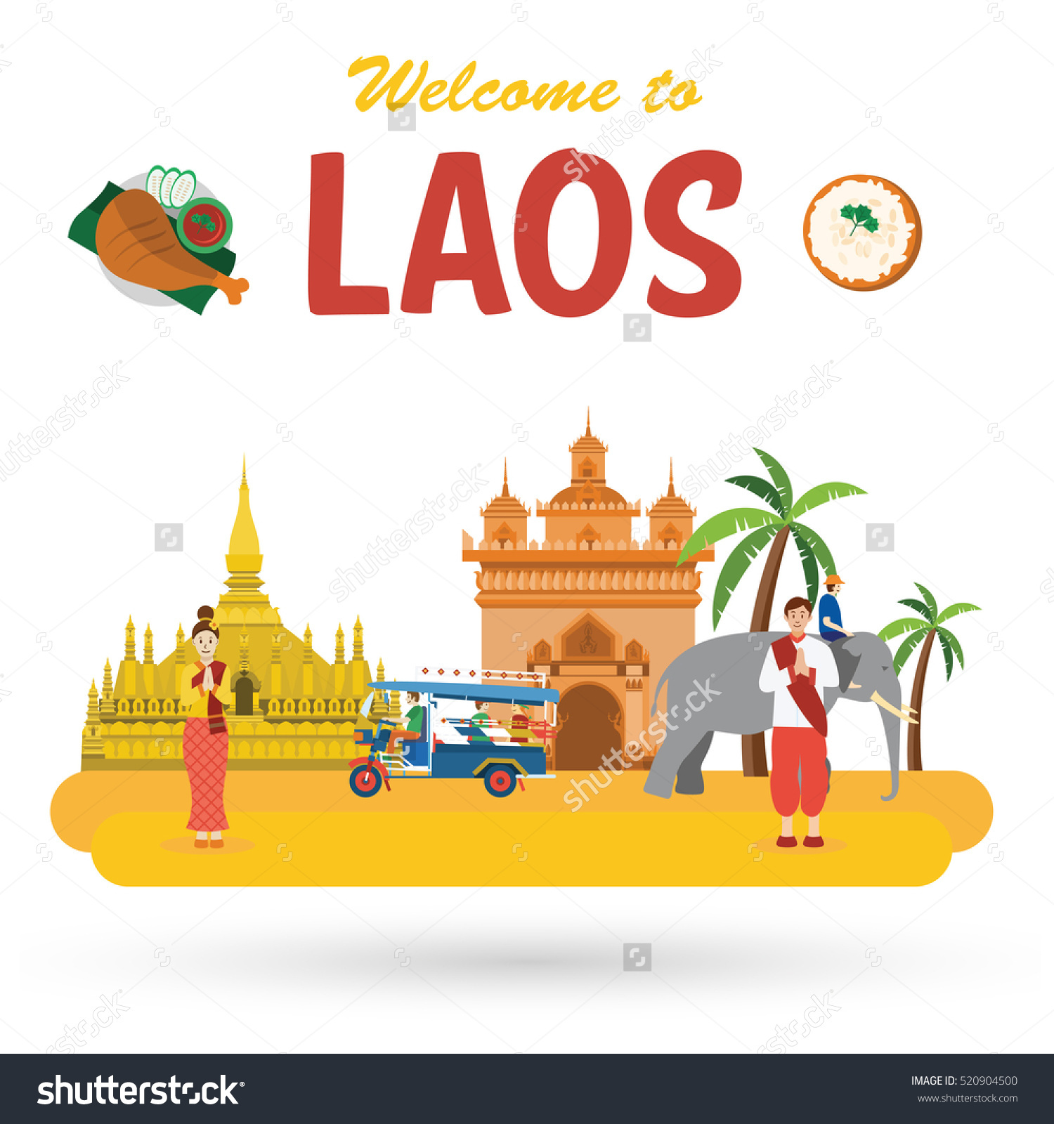 Laos travel landmarks. Flat design style. Illustration of Wat Phra.