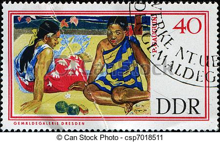 Clipart of Tahitian Women on the Beach.