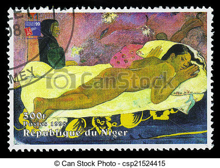 Stock Photography of painting by Paul Gauguin, Spirit of the Dead.