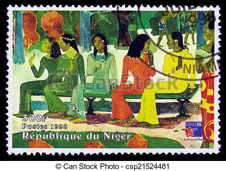 Pictures of painting by Paul Gauguin, Ta Matete Aka the Market.