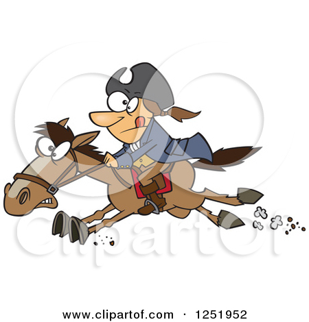 Clipart of a Cartoon Paul Revere Riding a Horse.