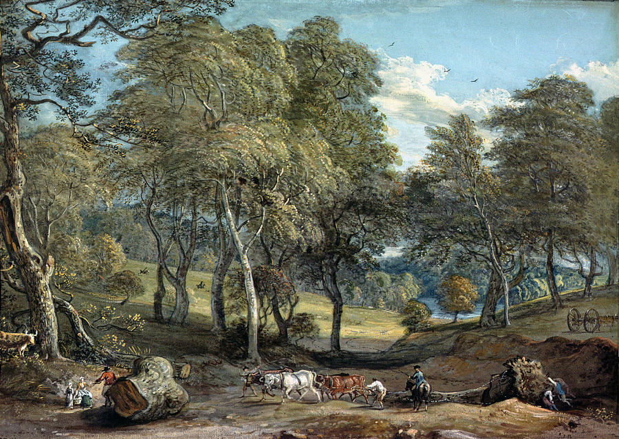 Windsor Forest With Oxen Drawing Timber, 1798 Gouache On Paper.