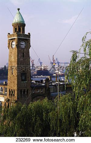 Stock Photograph of Clock tower on harbor, St. Pauli, Hamburg.
