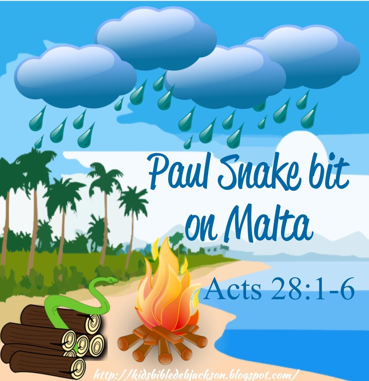 Bible Fun For Kids: Paul is Bitten by a Snake on Malta!.