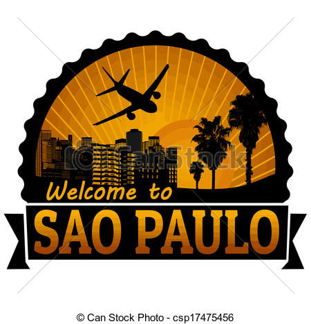 Clipart Vector of Sao Paulo travel label or stamp.