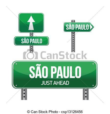 Clipart Vector of sao paulo city road sign illustration design.