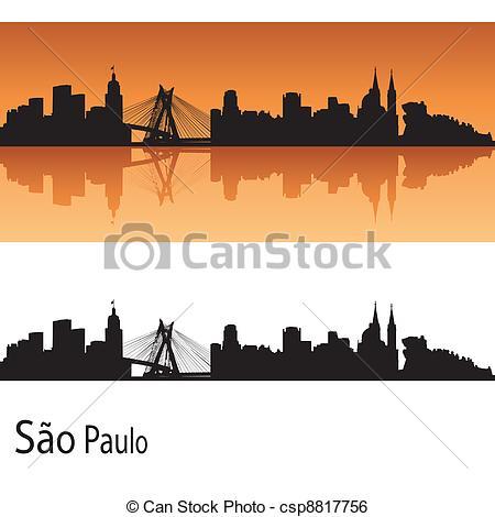 Clip Art Vector of Sao Paulo skyline in orange background in.