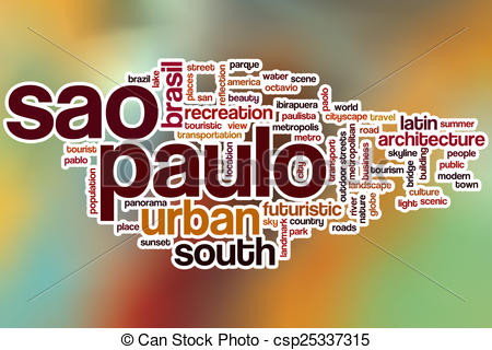 Clipart of Sao Paulo word cloud with abstract background.