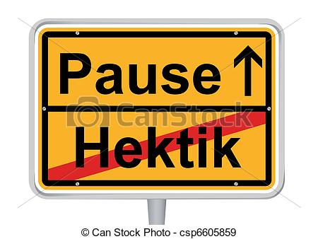 EPS Vectors of Sign Pause in German words isolated csp6605859.