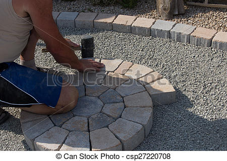 Stock Photography of Pave Stone Circle csp27220708.