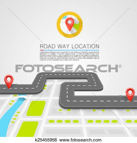 Clip Art of Paved path on the road k25455956.