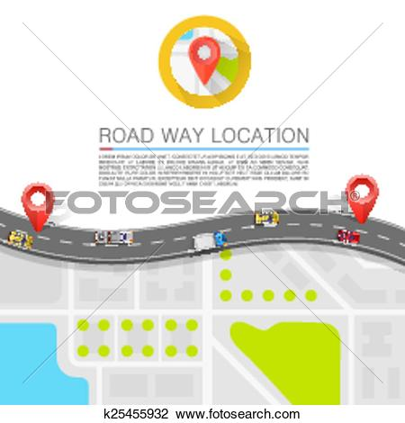Clipart of Paved path on the road k25455932.