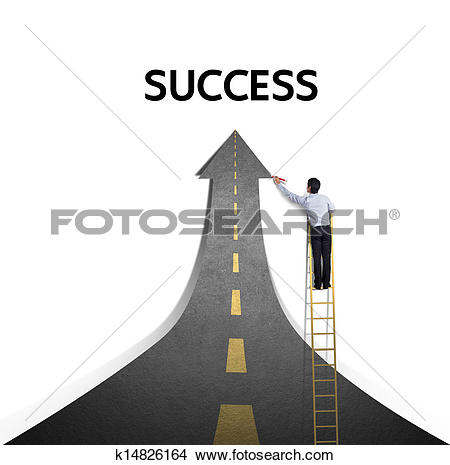 Stock Photo of Drawing a paved road to Success k14826164.