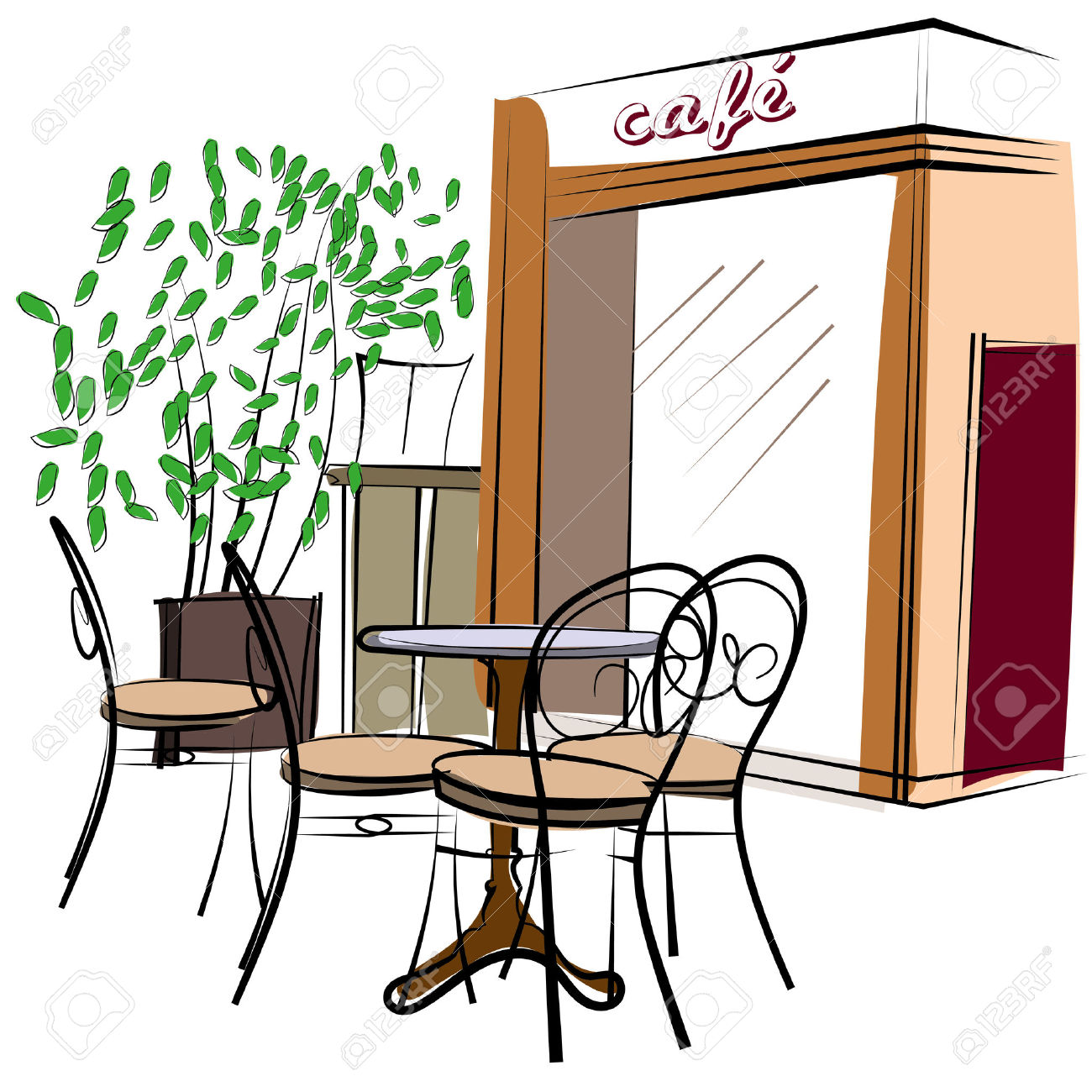 Cute Hand Drawn Style Illustration Of A Cafe Royalty Free Cliparts.