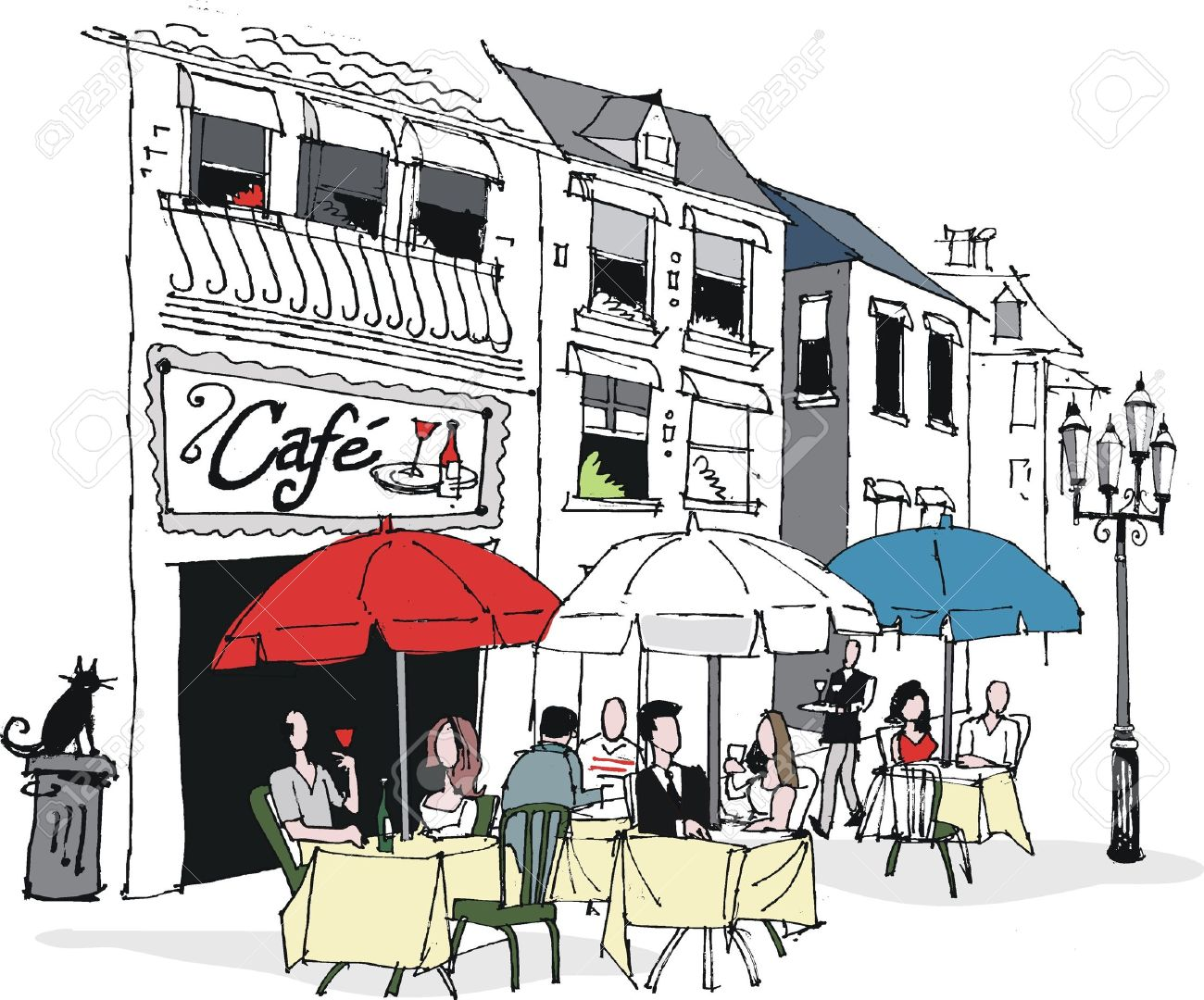 Vector Illustration Of French Cafe Scene Royalty Free Cliparts.