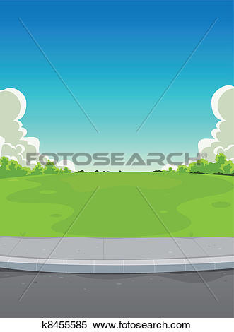 Clipart of Pavement And Green Park Background k8455585.