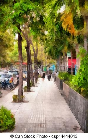 Drawing of Pavement path background csp14444043.