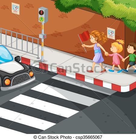 Clip Art Vector of Children walking on the pavement illustration.