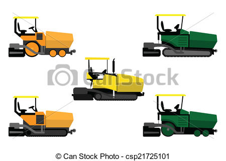 Vector Clipart of Asphalt pavers set on a white background.