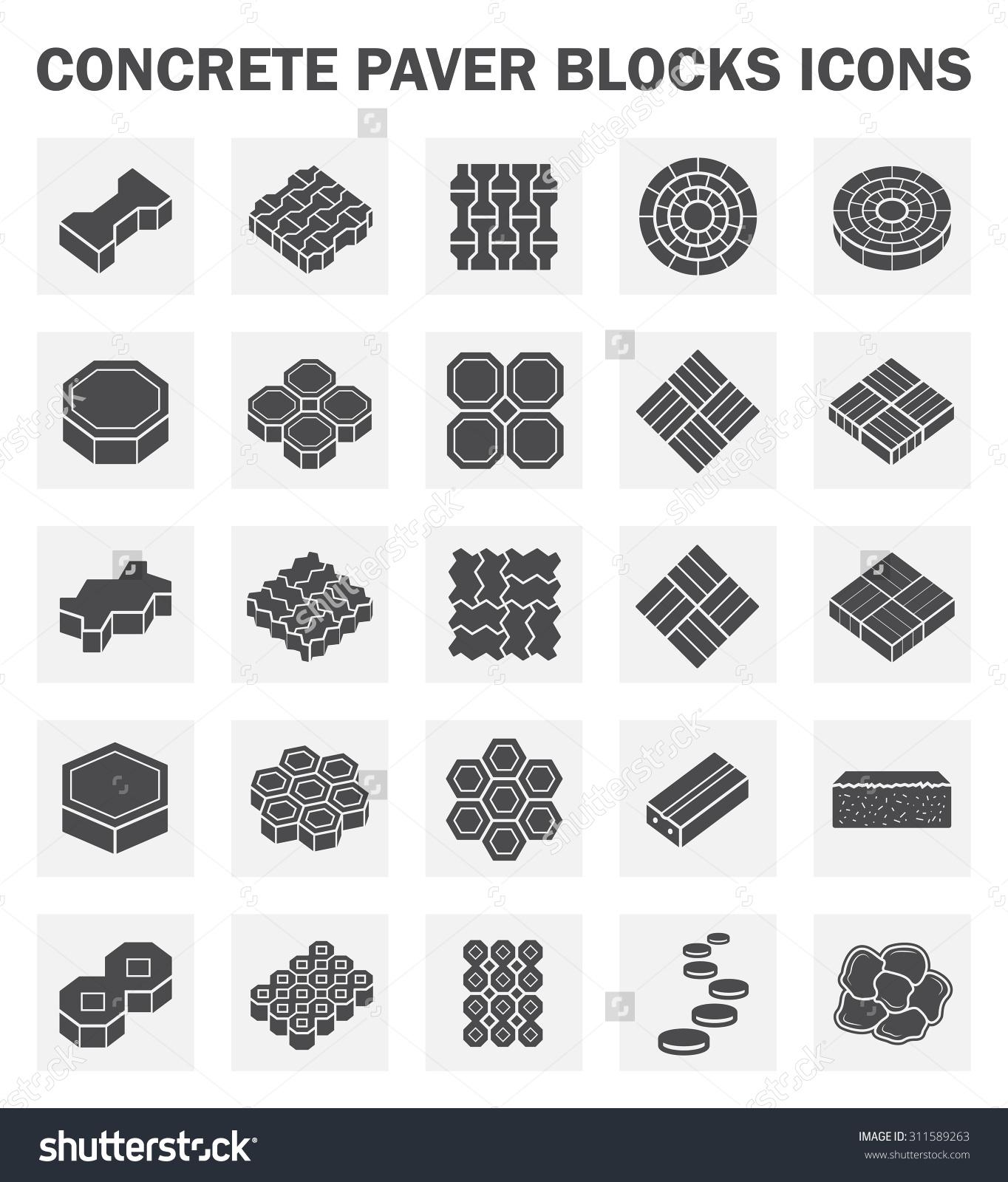 Concrete Paver Block Vector Icon Sets Stock Vector 311589263.