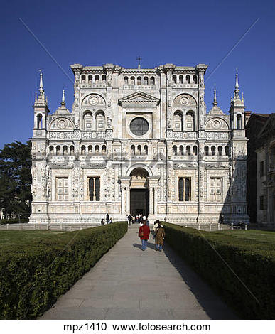 Stock Photography of The gothic faÁade of the Certosa di Pavia.