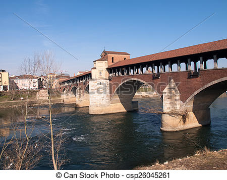 Stock Image of Pavia, covered bridge over the river Ticino.