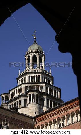 Stock Photo of The gothic bell tower of the Certosa di Pavia.